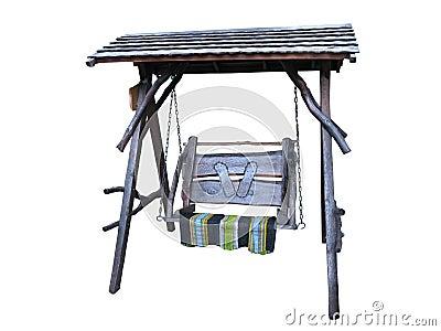 Oscilación de madera con la alfombra aislada en blanco