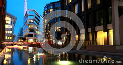 Oslo, Norway. Night View Embankment And Residential Multi-storey Houses In Tjuvholmen District. Summer Evening stock video