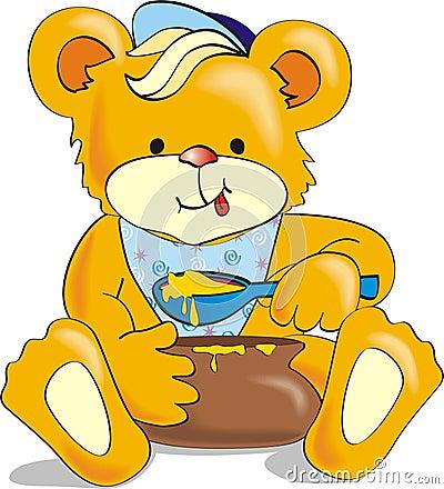 Oso de la historieta que come la miel con apetito