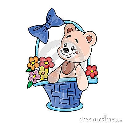 Oso del peluche con las flores en cesta del regalo