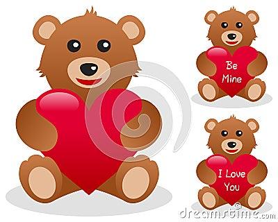 Oso del peluche de las tarjetas del día de San Valentín con el corazón