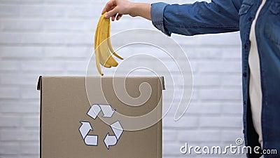 Osoby miotania bananowa łupa w kosz na śmieci, organicznie odpady sortuje, świadomość zdjęcie wideo