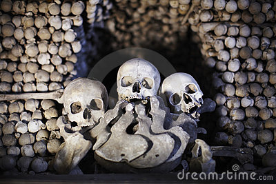 Ossuary with skulls and bones