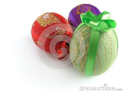 Ostern malte Ei oben gebunden durch Bänder 3
