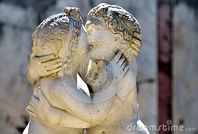 Ostia Antica, ancient Roman sculpture of Cupid and Psyche