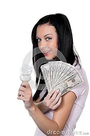 Oszczędzanie energetyczna lampowa kobieta