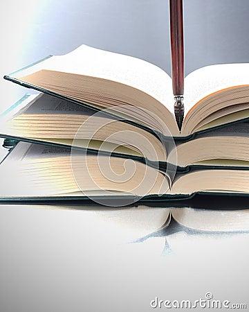 Otwiera książki i pisze