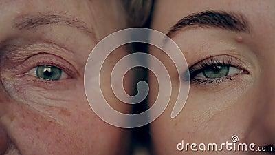 Oud en jong oog Kleindochter en grootmoeder van aangezicht tot aangezicht stock footage
