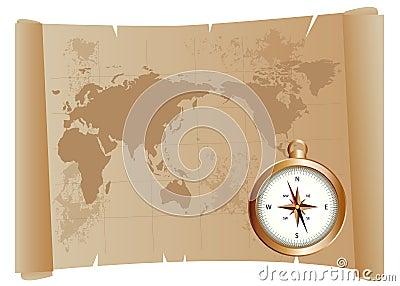 Oud kaart en kompas