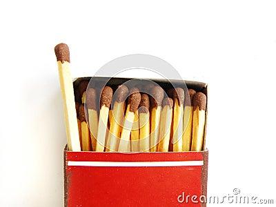 Oud lucifersdoosje en één matchstick uit