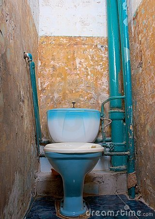 Oud, rot toilet