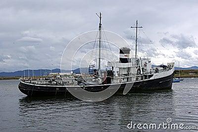 Oud schip in Ushuaia