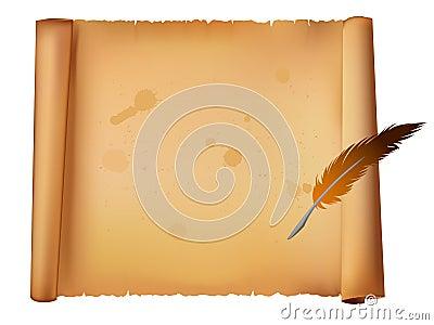 Oude document en veerpen