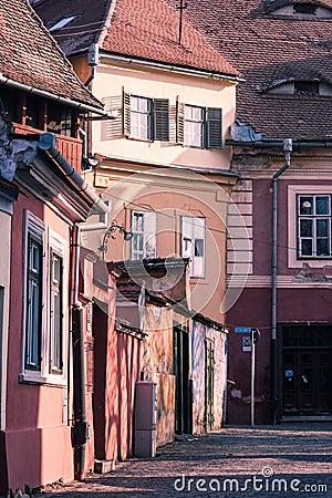 Oude gebouwen in Sibiu, Roemenië