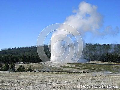 Oude Gelovige Geiser. Het Nationale Park van Yellowstone. Wyoming.