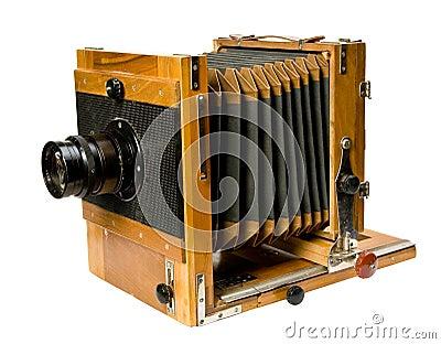 Oude houten camera