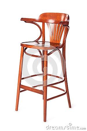 Oude houten hoge stoel voor kind met rug stock foto afbeelding 15512330 - Houten plastic stoel ...