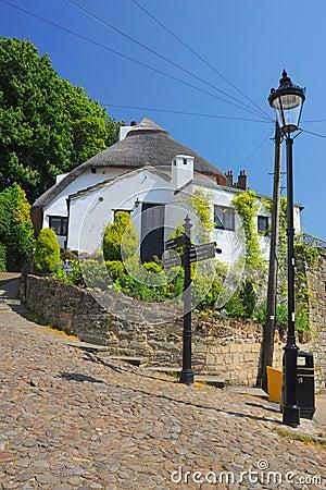 Oude huis en lantaarn in Knaresborough, Engeland