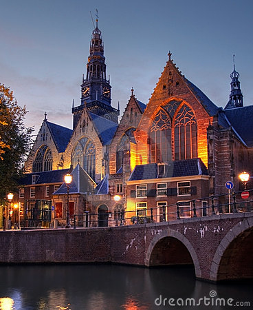 Oude Kerk at twilight, Amsterdam, The Netherlands