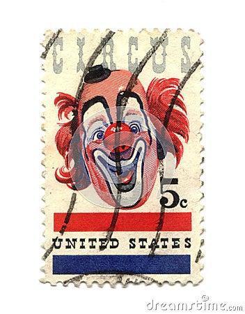 Oude postzegel van de cent van de V.S. vijf