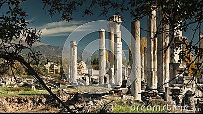 Oude ruïnes van Aphrodisias, de Tempel van Aphrodite Tijdtijdspanne, 4k stock video