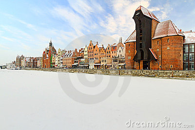 Oude stad in Gdansk bij de winter