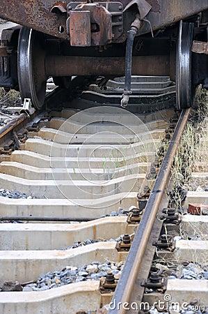 Oude trein op spoorweg