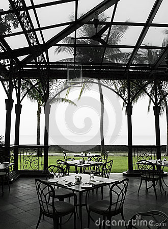 Oudoor al fresco dining area in heritage hotel