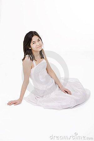 Oung teen girl in white dress