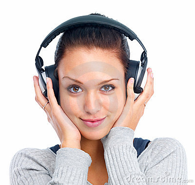 Oung woman listening to music isolated on white ba