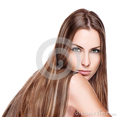 Oung woman with straight long hair