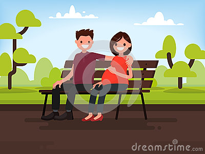 Ð¡ouple sitting on a bench in the park. Pregnant wife and her hu Cartoon Illustration