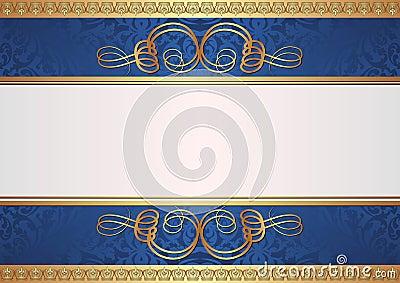 Ouro e fundo azul