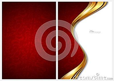 Ouro e fundo, parte dianteira e parte traseira abstratos vermelhos