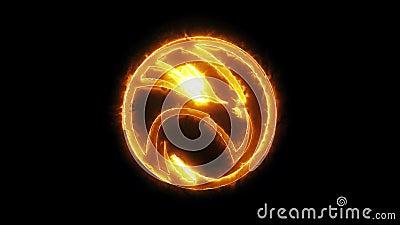 Ouro que queima o elemento V2 de Eagle Animated Logo Loopable Graphic ilustração do vetor