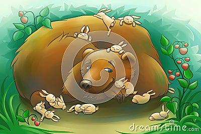 Civet Aka lui-même Ours-aimable-avec-les-petits-lapins-43956497
