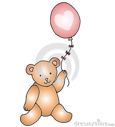 Ours de nounours avec le coeur sur le ballon rose images libres de droits image 3996869 - Coeur nounours ...