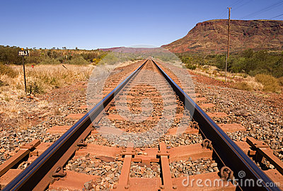 Outback Railway Track and Mount Nameless