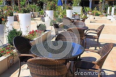 Outdoor bar, resort patio terrace