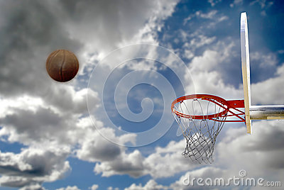 Outdoor Basketball Shot Cloudy Sky