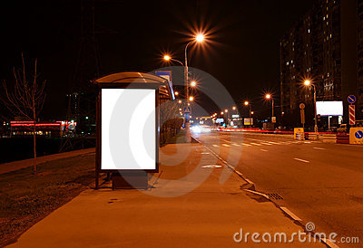 Outdoor blank sign on bus stop