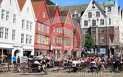 Outdoor cafe on Bryggen in Bergen, Norway Editorial Image