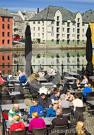 Outdoor Cafe, Colorful Buildings, Alesund, Norway Editorial Photography