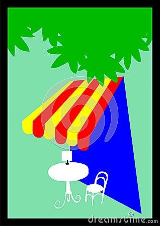 Outdoor cafe illustration
