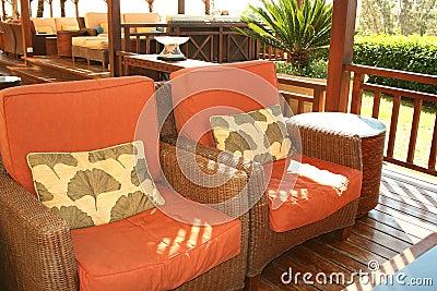 Outdoor cafe interior