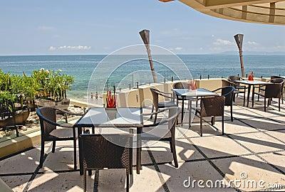 Outdoor cafe overlooking ocean