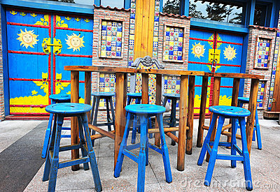 Outdoor cafe seats