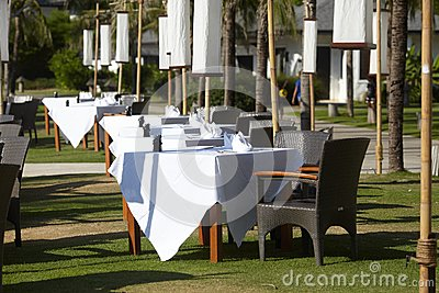 Outdoor chair and tables