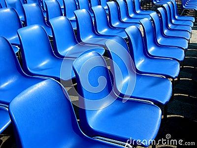 Outdoor cinema blue seats