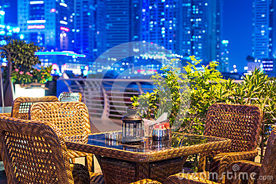 Outdoor city restaurant